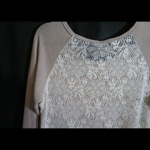 FANG Cream Sweater with Ivory Lace Back. Size L